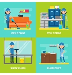 Cleaning Company Flat Composition vector