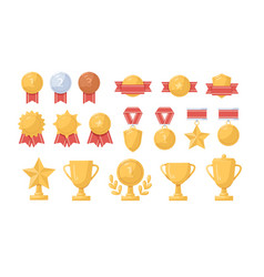 collection golden silver and bronze medals vector image