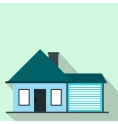 Cottage with a garage flat icon vector