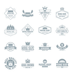 Crown royal logo icons set simple style vector