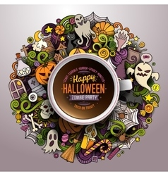 Cup of coffee with Halloween doodles vector image
