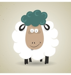 Cute cartoon smiling sheep standing facing the vector