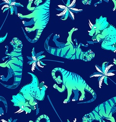 Dinosaurs with palm trees in a seamless pattern vector