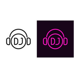 dj sign in outline style vector image