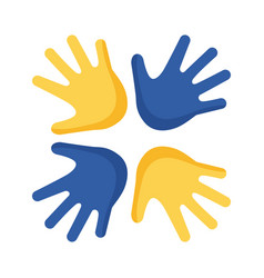 Down syndrome hands around flat style icon vector