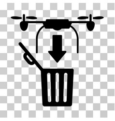Drone drop trash icon vector