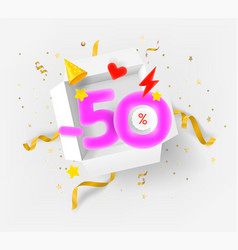 Fifty percent discount banner with opened box vector