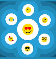 Flat icon gesture set of cold sweat pleasant vector