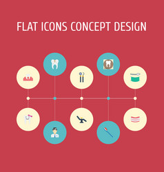 Flat icons radiology children dentist decay and vector