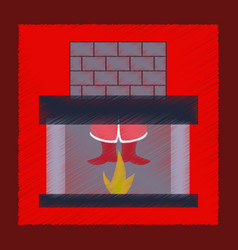 Flat shading style icon santa claus in fireplace vector