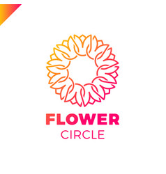 Flower logo circle abstract design template vector