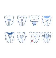 funny teeth characters set dentistry and vector image