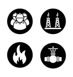 Gas industry black icons set vector image