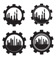 gear industrial petrochemical factory icon set on vector image