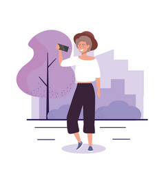 Girl with hat and casual clothes with smartphone vector