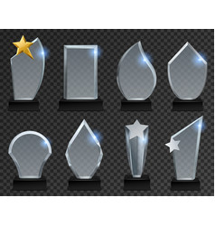 Glass trophy acrylic transparent awards in vector