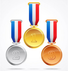 gold silver and bronze medals 123 vector image