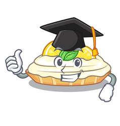 Graduation cartoon lemon cake with lemon slice vector