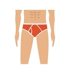 Half body men with red swimming trunks vector