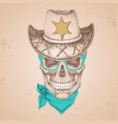 hand drawing hipster skull with sheriffs hat vector image