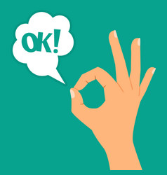 hand showing ok sign vector image