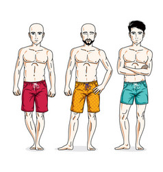 Handsome men group standing with perfect body vector