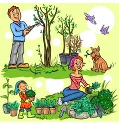 Happy family in garden vector