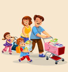Happy family making purchases together poster vector