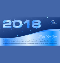happy new year 2018 banner in blue vector image