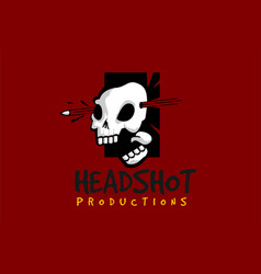 headshot skull logo template vector image
