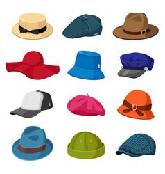 headwear hats men and women elegant headwear vector image