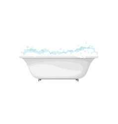 Hot bathtub with foamy bubbles bathroom object vector