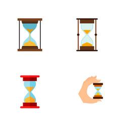 Icon flat timer set of sandglass measurement vector