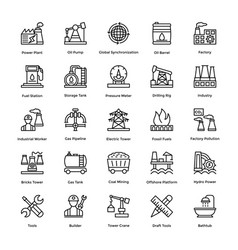 industrial and construction line icon set 1 vector image