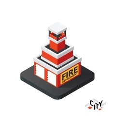 Isometric fire department icon building city vector image