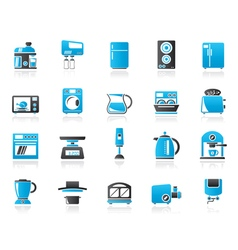 Kitchen appliances and kitchenware icons vector