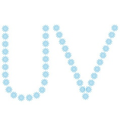Letter U V from spheres vector image