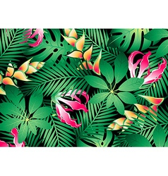 Lush tropical flowers and plants background vector image