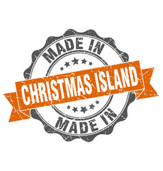 made in christmas island round seal vector image