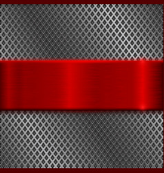 metal perforated background with red brushed plate vector image vector image