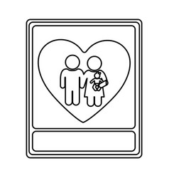 Monochrome contour with portrait of family unity vector