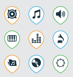 multimedia icons set with gramophone folder vector image
