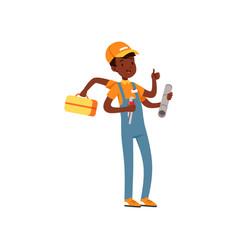 Multitasking plumber character african american vector