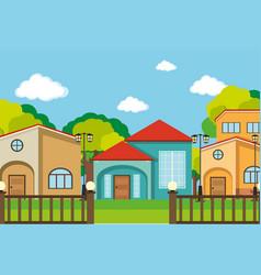 Neighborhood scene with many houses vector
