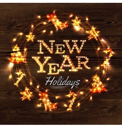 New year wreath garland poster vector