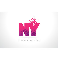 ny n y letter logo with pink purple color and vector image