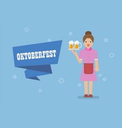 oktoberfest with waitress character serving glass vector image