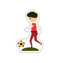 Paper sticker on white background football player vector