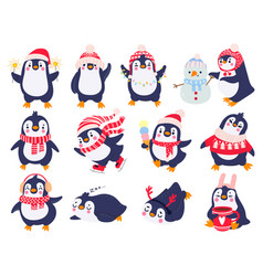 penguin hand drawn cute penguins in winter vector image