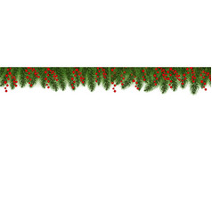 red merry christmas border with holly berry white vector image